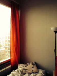Meine roten Bettlaken-Gardinen! <3
