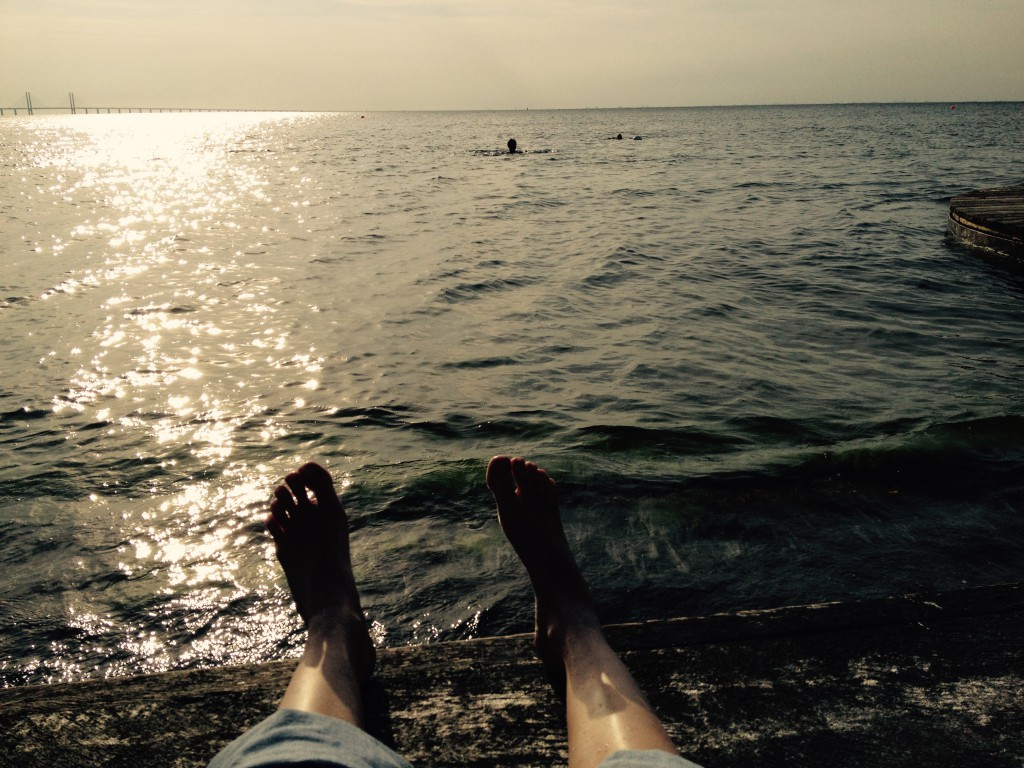 To Do: Take a swim in Sweden. Starring: My feet and heads of Jan and Johanna.